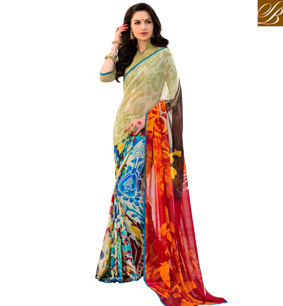 BROUGHT TO YOU BY STYLISH BAZAAR ALLURING COLORFUL PRINTED SARI DESIGN RTSHN2082B