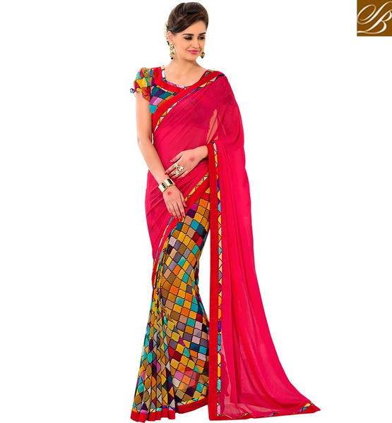 A STYLISH BAZAAR PRESENTATION APPEALING DESIGNER PRINTED SAREE BLOUSE RTSHN2083