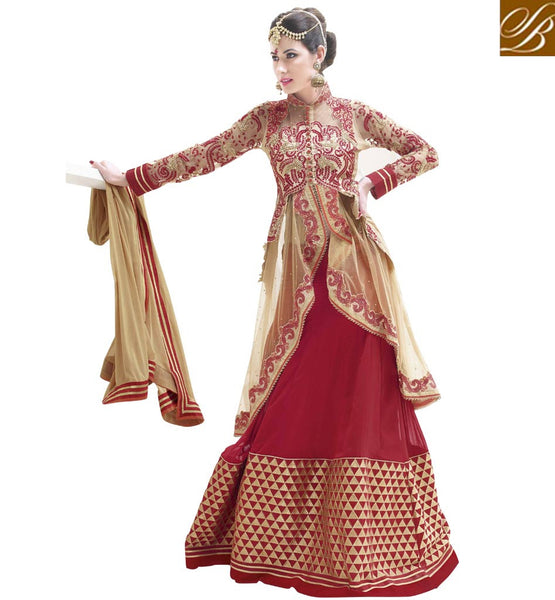 MAJESTIC MAROON & CHIKOO WEDDING WEAR LEHENGA SUIT RTALK208