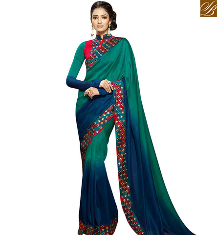 STYLISH BAZAAR BLUE AND GREEN SHADED SILK DESIGNER SAREE ATTIRE WITH LACE BORDER AND MODERN STYLE BLOUSE SLHAW208