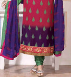 RANI & GREEN PARTY WEAR FAUX GEORGETTE STRAIGHT SALWAR KAMEEZ WITH DUPATTA