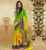 DESIGNER BLOUSE PATTERNS OF BACK NECK WITH  HALF AND HALF SAREE GREEN BHAGALPURI SILK CASUAL WEAR SAREE WITH GREEN BHAGALPURI DESIGNER BLOUSE