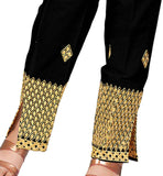 Black pants for women with embroidery work