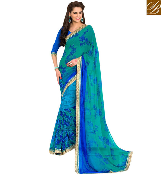 A STYLISH BAZAAR PRESENTATION ENTICING FLORAL PRINTED SAREE RTSHN2090
