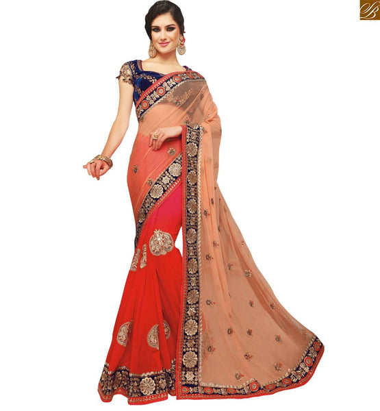 DELIGHTFUL ORANGE,SAREE THAT COMES WITH BLUE DESIGNER BLOUSE RTSAK2093