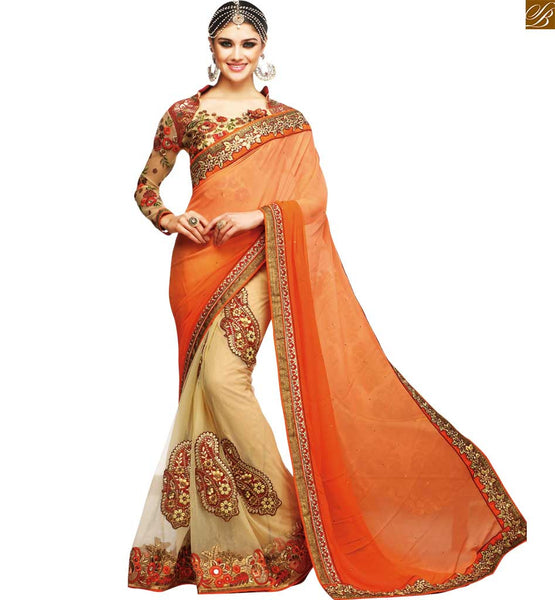 STYLISH BAZAAR RADIANT ORANGE BLOUSE MATCHED WITH CREAM EMBROIDERED SARI RTSAK2094