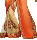 FROM THE HOUSE  OF STYLISH BAZAAR RADIANT ORANGE BLOUSE MATCHED WITH CREAM EMBROIDERED SARI RTSAK2094
