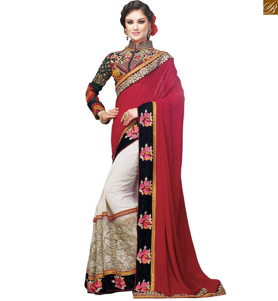 STYLISH BAZAAR PRESENTS WONDERFUL WEDDING WEAR MAROON GEORGETTE SAREE WITH BLOUSE RTSAK2097