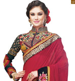 A STYLISH BAZAAR PRESENTATION WONDERFUL WEDDING WEAR MAROON GEORGETTE SAREE WITH BLOUSE RTSAK2097