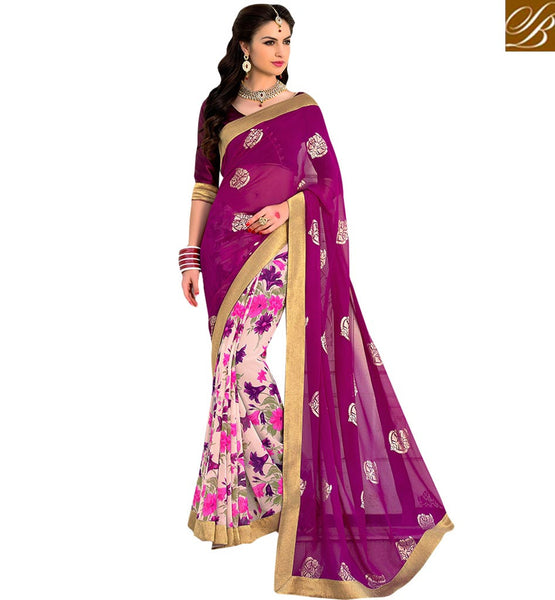 FROM STYLISH BAZAAR MAGNIFICENT FLOWERY PATTERNED DESIGNER SARI RTSHN2097