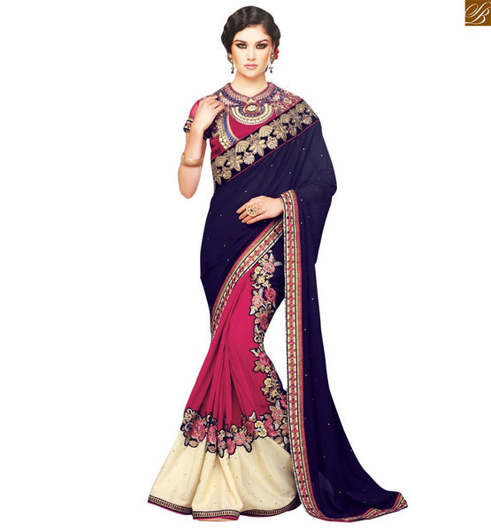 STYLISH BAZAAR PRESENTS ENTICING EMBROIDERED BLUE SARI WITH A PINK DESIGNER BLOUSE RTSAK2098