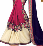 STYLISH BAZAAR INTRODUCES ENTICING EMBROIDERED BLUE SARI WITH A PINK DESIGNER BLOUSE RTSAK2098
