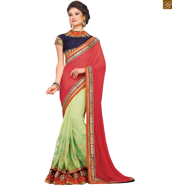SUPPLE RED SAREE TEAMED UP WITH A BLUE BLOUSE RTSAK2099