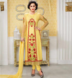 UNIQUE GEORGETTE STRAIGHT SALWAR KAMEEZ SUIT SET CROSIA LACE BORDER BELA FASHIONS SURAT 209