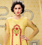 UNIQUE GEORGETTE STRAIGHT SALWAR KAMEEZ SUIT SET CROSIA LACE BORDER BELA FASHIONS SURAT 209 YELLOW GEORGETTE