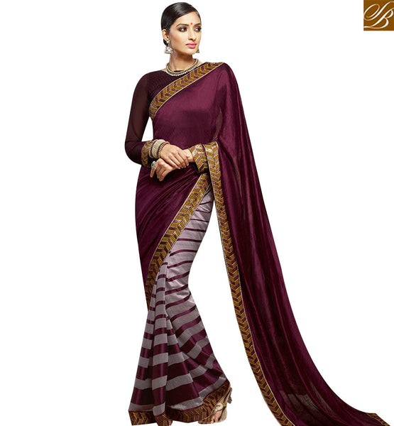 STYLISH BAZAAR WINE SILK DESIGNER SAREE ATTIRE WITH LACE BORDER HAVING SPLENDID LOOK SLHAW209