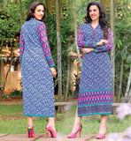 LATEST SHIRT DESIGNS DESIGNER KURTIS WITH PRINT PURE COTTON BLUE LONG TOP WITH BUTTON PATTERN ON NECKLINE