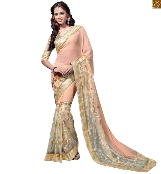 A STYLISH BAZAAR PRESENTATION ELEGANT PEACH AND CREAM SAREE SUPPLEMENTED WITH A CREAM BLOUSE RTMAG21