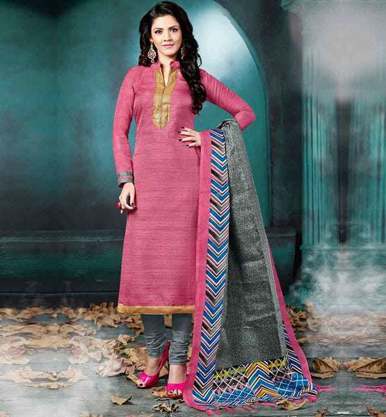 LATEST DESIGNS SALWAR KAMEEZ LADIES CASUAL WEAR PINK BHAGALPURI FABRIC STRAIGHT CUT SUIT WITH GREY COTTON SHALWAR & BAGRU PRINT DUPATTA