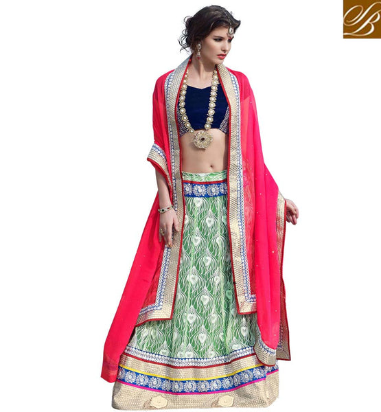 STYLISH CHOLIS FOR LEHENGA NEW BOLLYWOOD FASHION  GREEN NET LENGHA WITH BLUE VELVET CHOLI AND PINK CHIFFON DUPATTA