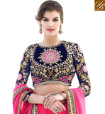PINK GEORGETTE LEHENGA WITH BLUE VELVET-GEORGETTE CHOLI AND PINK NET DUPATTA BEAUTIFUL BRIDAL LEHENGA DESIGN IN VELVET AND GEORGETTE FABRIC IN RAJWADI STYLE