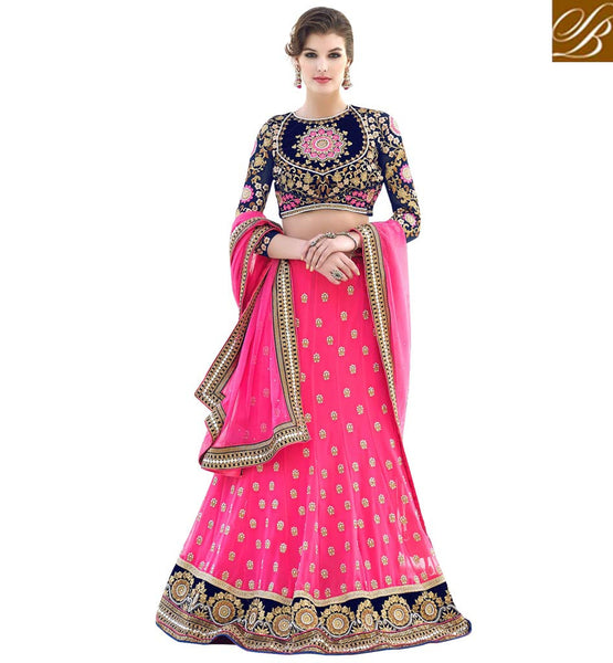 STYLISH GHAGRA BLOUSES STYLE CHOLI INDIAN DRESS PINK GEORGETTE LEHENGA WITH BLUE VELVET-GEORGETTE CHOLI AND PINK NET DUPATTA