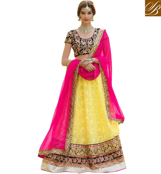 STYLISH LEHENGA & LATEST DESIGN OF BLOUSE DRESS YELLOW GEORGETTE LENGHA WITH BLACK VELVET CHOLI AND PINK CHIFFON DUPATTA