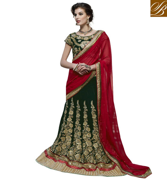 STYLISH LENGHA CHOLI STYLE JACKET BEST SHOPPING  GREEN VELVET LEHENGA WITH GREEN VELVET CHOLI AND MAROON CHIFFON DUPATTA