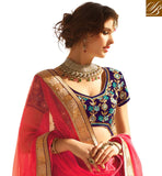 STYLISH LEHENGA BLOUSES DESIGN ONLINE FASHION  PINK NET JACQUARD LEHENGA WITH BLUE VELVET CHOLI AND PINK NET DUPATTA