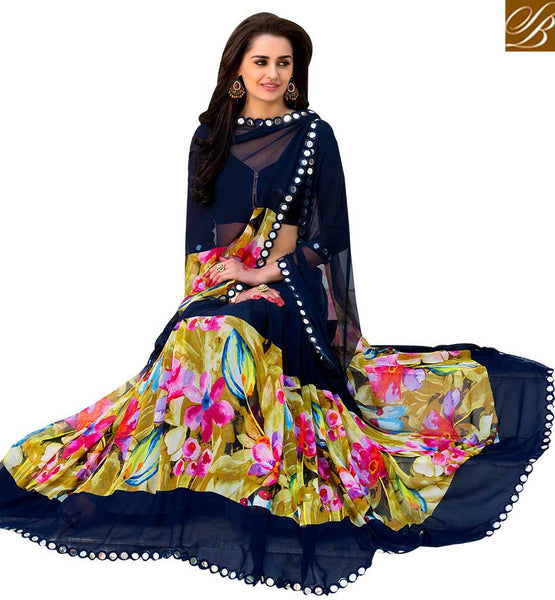 BROUGHT TO YOU BY STYLISH BAZAAR PLEASING FLOWERY DESIGN PRINTED SAREE RTSHN2100B