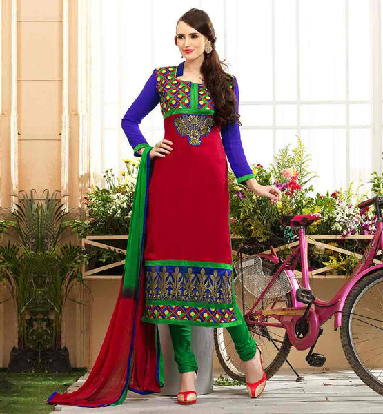 SALWAR KAMEEZ PAKISTANI STYLE FOR PARTY WEAR AWESOME RED STRAIGHT CUT COTTON SUIT WITH SALWAR AND NAZNEEN DUPATTA