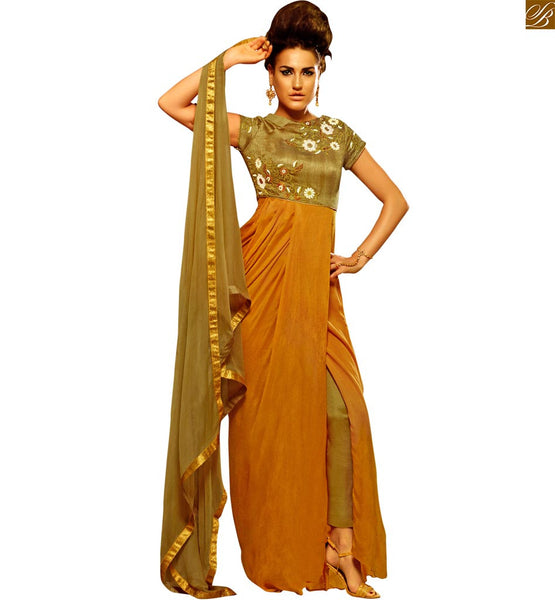 STYLISH BAZAAR ENTICING EMBROIDERED ORANGE AND PALE GREEN DESIGNER SALWAAR SUIT ANIM2101