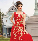 RAVISHING RED SOFT NET GOWN WITH RICH DETAILING