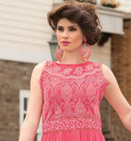LOVELY PINK GOWN WITH SUPERB WORN ON NECK AND BACK