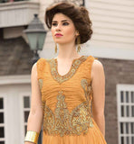 BEIGE SOFT-NET GOWN WITH EMBROIDERY AND PLEATED DESIGNS