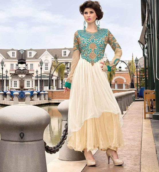 PLEASING SOFT NET EMBROIDERED PARTY GOWN ONLINE SHOPPING INDIA