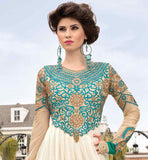 EXCITING OFF-WHITE AND BEIGE SOFT-NET GOWN WITH FULL EMBROIDERED NECK