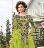 DESIGNER GREEN AND BLUE SOFT-NET GOWN WITH RICH DESIGNING