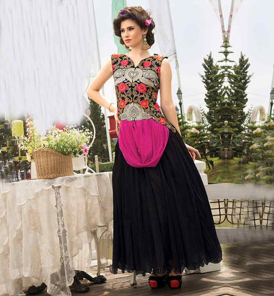 ONLINE EVENING GOWN SHOPPING IN INDIA DELIGHTFUL BLACK NET DRESS