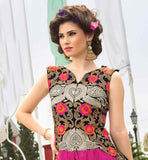EXCELLENT EMBROIDERY WORK BLACK SOFT-NET GOWN