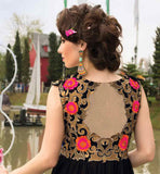 BLACK GOWN WITH FLORAL EMBROIDERY LOOK FROM BACK SIDE
