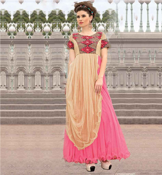APPEALING DUAL COLOR NET LONG MAXI GOWN ONLINE SHOPPING INDIA