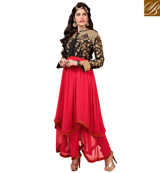 SHOP ANARKALI DRESSES SURAT SKIRT LOOK ASYMETRIC CUT SALWAR KAMEEZ
