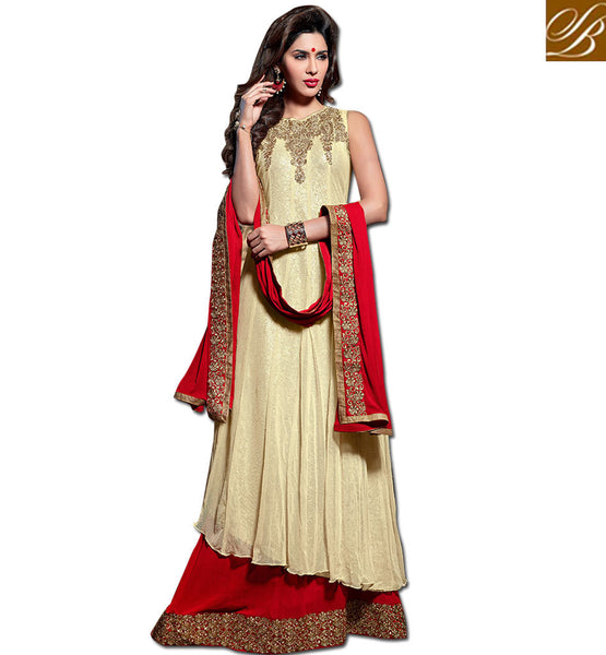 MAISHA MASKEEN JI RAMADAN EID SPECIAL NEW COLLECTION CREAM GOWN STYLE ANARKALI WITH RED SALWAR AND DUPATTA