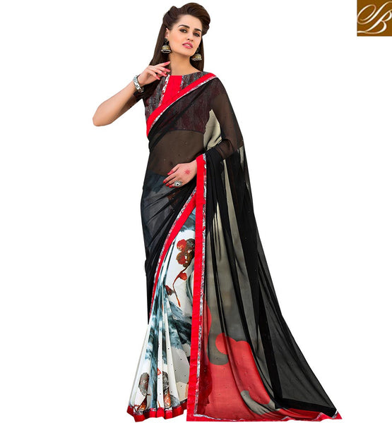 STYLISH BAZAAR PRETTY BLACK AND WHITE GEORGETTE SARI RTSHN2101