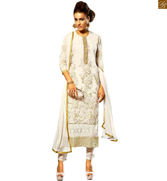 STYLISH BAZAAR ALLURING ROYAL OFF WHITE EMBROIDERED SALWAR KAMEEZ