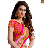 IDEAL SARI DESIGN CRAFTED FOR PARTIES VAR2102 PINK & ORANGE