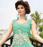 SUPERB SKY-BLUE GOWN WITH PLEATED NECK DESIGN AND EMBROIDERY WORK