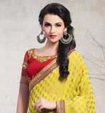 YELLOW-GREEN JACQUARD & GEORGETTE PARTY WEAR SARI WITH RAW SILK CHOLI