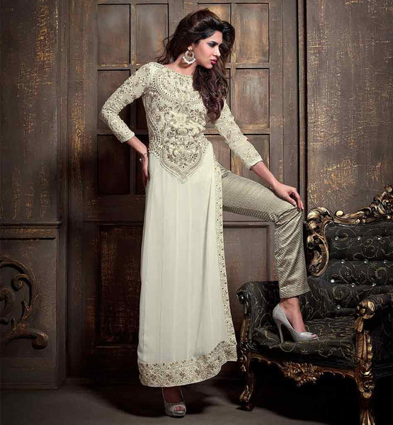 MAISHA LATEST SALWAR SUITS FOR PARTIES AND FESTIVALS OFF WHITE STRAIGHT CUT KAMEEZ WITH SILVER SALWAR AND DUPATTA